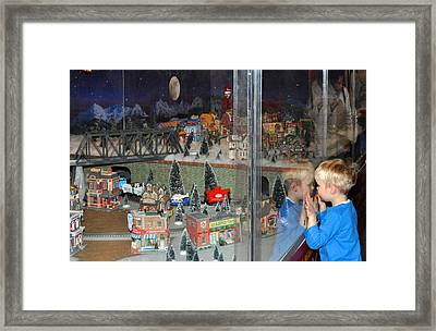 Framed Print featuring the photograph Boy And Christmas Trains by Diane Lent