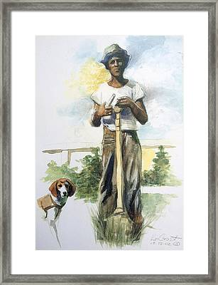Boy And Dog Framed Print