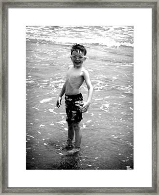 Framed Print featuring the photograph Boy At The Ocean 2 by Kelly Hazel