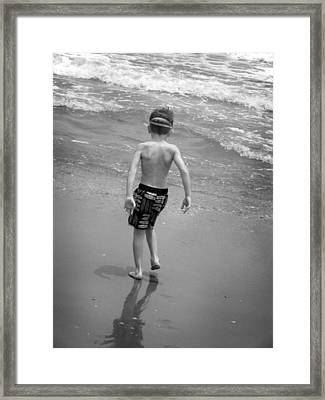 Framed Print featuring the photograph Boy At The Ocean by Kelly Hazel