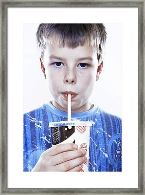 Boy Drinking A Fizzy Drink Framed Print by Kevin Curtis