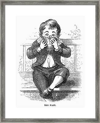 Boy Eating Framed Print by Granger