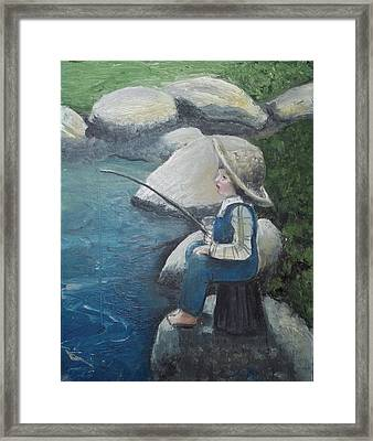 Boy Fishing Framed Print by Angela Stout