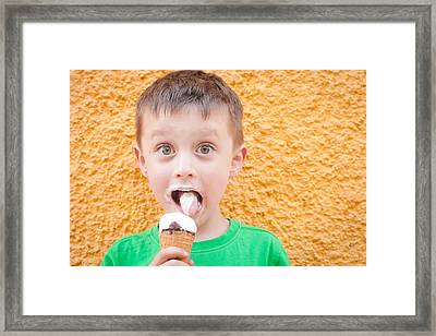 Boy Having Ice Cream Framed Print