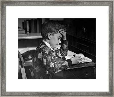 Boy In Classroom W/book Framed Print by George Marks