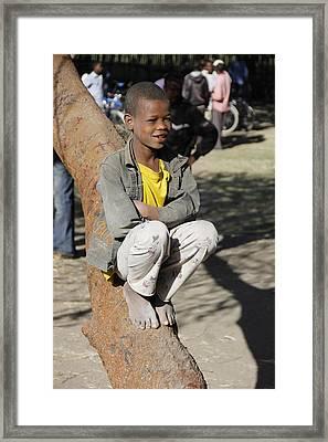 Boy In Zen Thought Framed Print