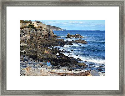 Framed Print featuring the photograph Boy On Shore Rocky Coast Of Maine by Maureen E Ritter
