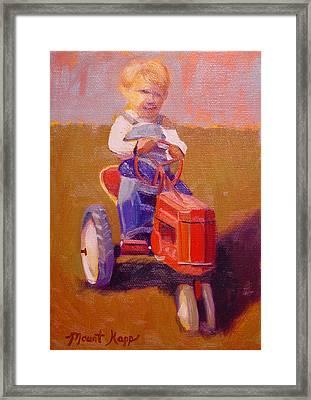 Boy On Tractor Framed Print
