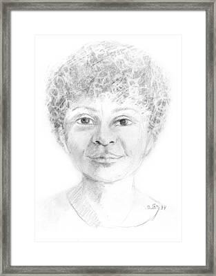 Boy Or Girl Woman Or Man African Or Asian Has Curly Hair Big Lips And A Big Head Framed Print by Rachel Hershkovitz