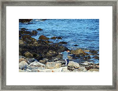 Framed Print featuring the photograph Boy Throwing A Stone Maine Coast by Maureen E Ritter