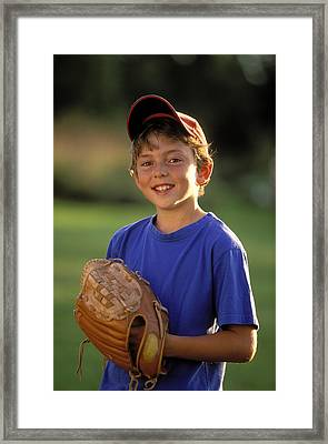 Boy With Baseball Glove Framed Print by John Sylvester