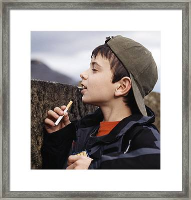Boy With Cigarettes Framed Print by Andy Harmer