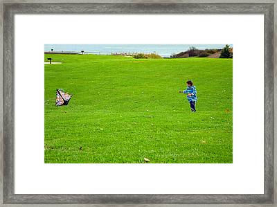 Framed Print featuring the photograph Boy With His Kite Maine by Maureen E Ritter