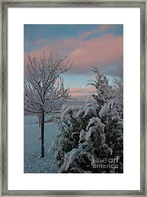 Boyd Lake Winter Moonset Framed Print by Harry Strharsky