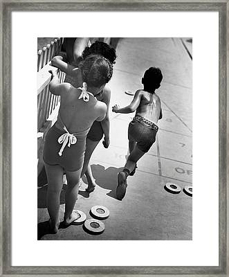 Boys & Girls Playing Shuffle Board Framed Print by George Marks