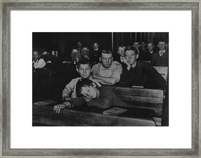 Boys And Teenagers Attend Night School Framed Print by Everett
