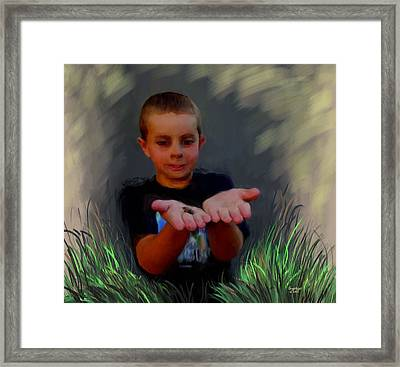 Boys And Their Pet Frogs Framed Print by Cindy Wright
