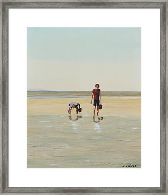 Boys Clamming Framed Print by Anthony Ross