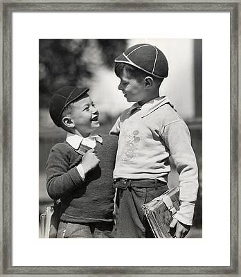 Boys Going To School Framed Print by George Marks
