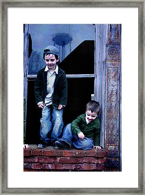 Framed Print featuring the photograph Boys In A Window by Kelly Hazel