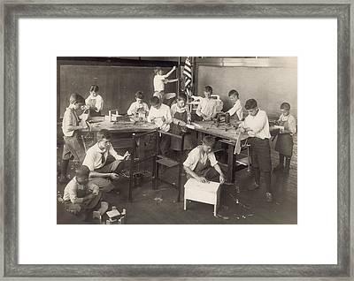 Boys Learn Carpentry In An Open Air Framed Print by Everett