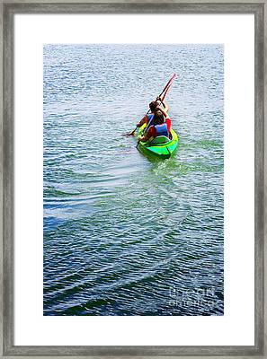 Boys Rowing Framed Print by Carlos Caetano