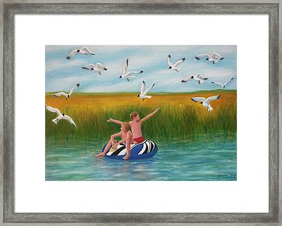Boys Sharing With Laughing Gulls Framed Print