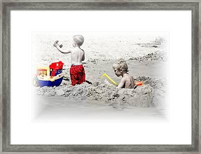 Boys Will Be Boys At The Beach Nj Framed Print by Gwenn Dunlap