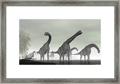 Framed Print featuring the digital art Brachiosaurus by Walter Colvin