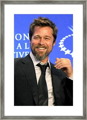 Brad Pitt At A Public Appearance Framed Print