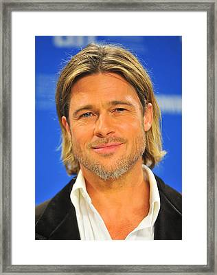 Brad Pitt At The Press Conference Framed Print by Everett