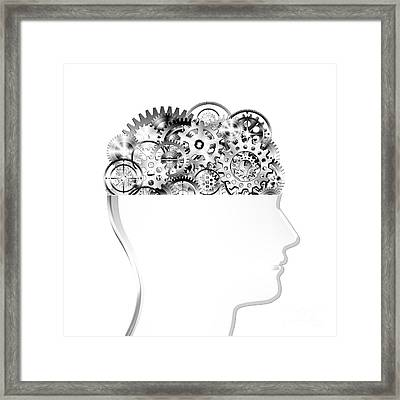 Brain Design By Cogs And Gears Framed Print