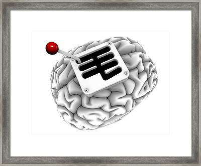 Brain With Gearstick, Computer Artwork Framed Print by Pasieka