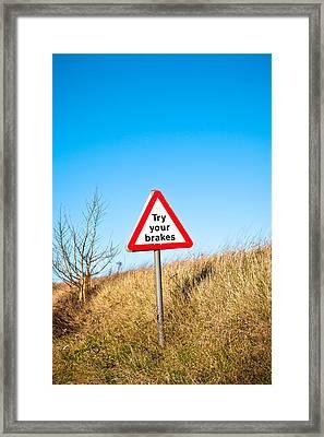 Brakes Sign Framed Print