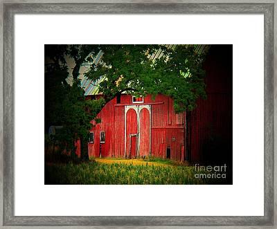 Branch Over Barn Door Framed Print by Joyce Kimble Smith