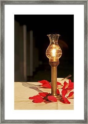 Brass Candle Romance Framed Print by Kantilal Patel