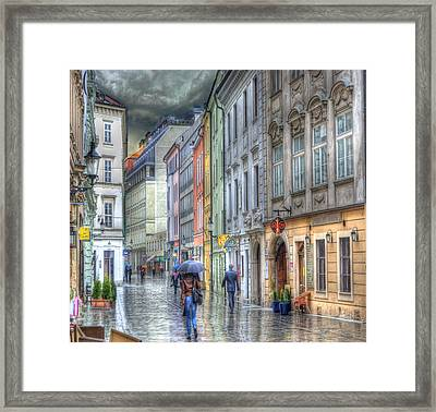 Bratislava Rainy Day In Old Town Framed Print by Juli Scalzi