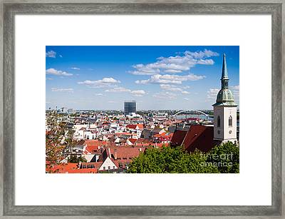 Framed Print featuring the photograph Bratislava Roofs by Les Palenik