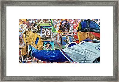 Braves Catcher Framed Print by Michael Lee