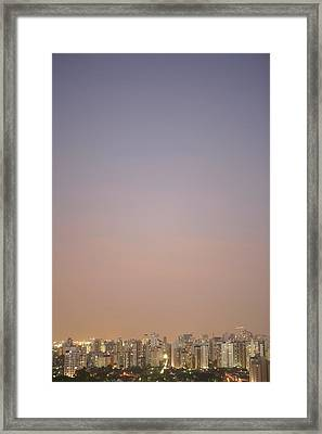 Brazil, Sao Paulo, Cityscape At Sunset, Elevated View Framed Print