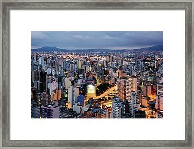 Brazil, Sao Paulo, Cityscape, Elevated View, Dusk Framed Print