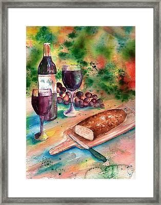 Bread And Wine Framed Print by Sharon Mick