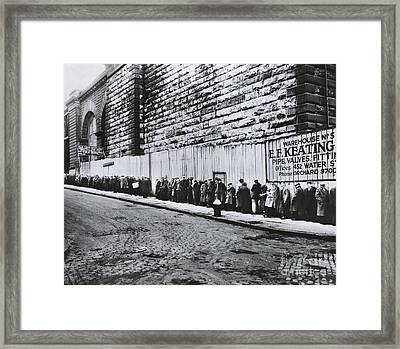 Bread Line Beside The Brooklyn Bridge Framed Print