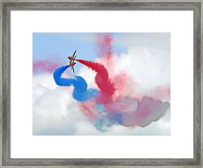 Break  Red Arrows - Dunsfold 2012 Framed Print by Colin J Williams Photography