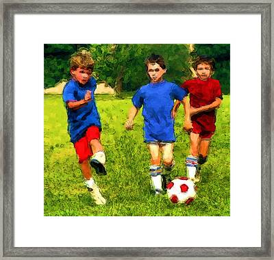 Framed Print featuring the painting Breakaway Goal by Dennis Lundell