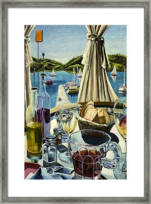 Framed Print featuring the painting Breakfast In Skradin by AnneKarin Glass