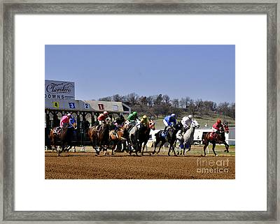Framed Print featuring the photograph Breaking From The Gate by Nava Thompson