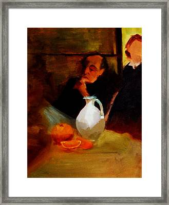 Breaktime With Oranges And Milk Jug Man Deep In Philosophical Thought With Mysterious Boy Servant Framed Print