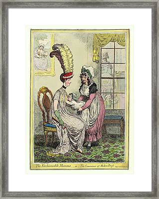Breastfeeding, 18th-century Caricature Framed Print