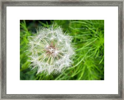 Framed Print featuring the photograph Breathe A Wish by Robin Dickinson